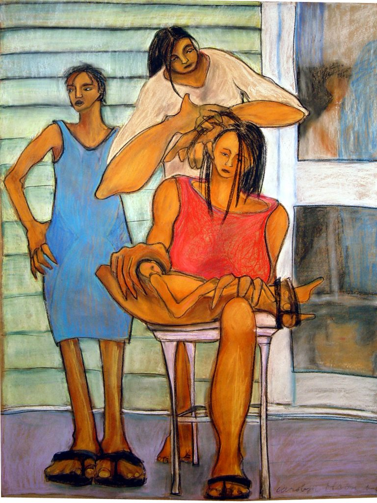 """Doing Hair"" Pastel on paper"